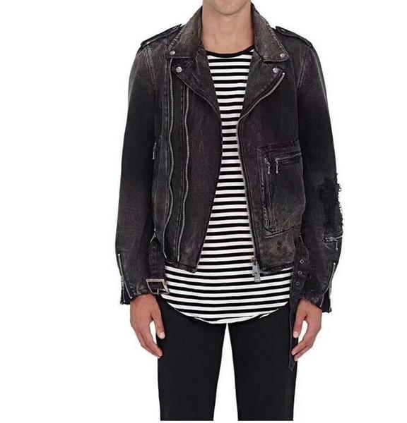 2018 HOT Men's more zip Denim Jackt Motorcycle Biker Denim Jackets Stand Collar Zipper Jeans Coat High Quality size M-4XXL
