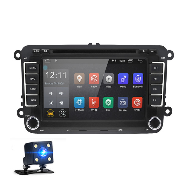 7 Inch 2 Din Android 8.0 Car DVD Multimedia Player GPS Navigation Stereo Radio for VW Volkswagen T5 Touran with Rearview Camera Canbus