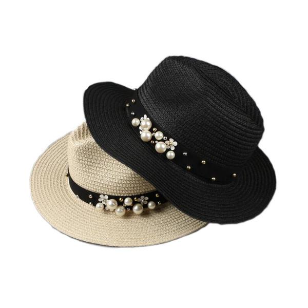 50pcs/lot Flat top straw hat Summer Spring women's trip caps leisure breathable pearl beach sun hats