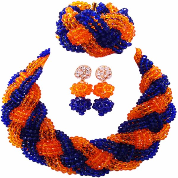 Beautiful Royal Blue Orange Crystal Beaded Necklaces Costume Nigerian Wedding African Beads Jewelry Set for Women 12BZ17
