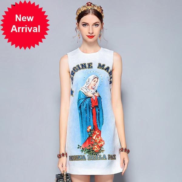 New 2018 Fashion Designer Summer Dress Women's Sleeveless vergine maria Print Flower Sequin Beading Vintage Dress