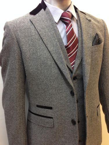 özel yapılmış! Yeni kişilik gri balıksırtı gündelik elbise üç parçalı takım elbise Zarif el kesme Ücretsiz kargo (ceket + yelek + pantolon)
