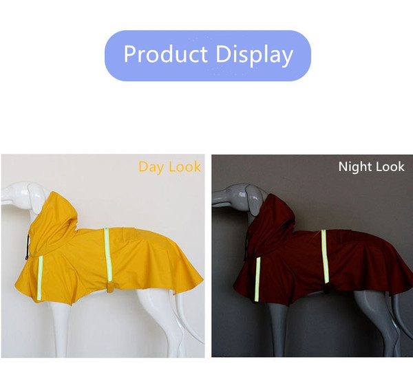 Light Dog Clothes S M L XL Reflective Rain Cape Hat Water Ressistant Sweaters for all Types of Pet Dogs Small Large