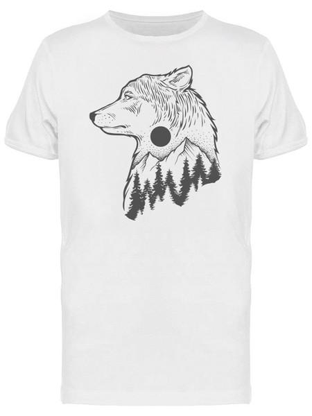 Soyut Kurt Ve Orman erkek Tee-Image Shutterstock tarafından Karikatür t shirt erkek Unisex Yeni Moda tshirt