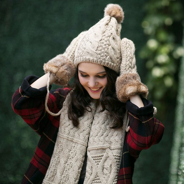 Winter student female hat scarf glove three-piece round neck body warm and lovely extra thick suit wool han edition