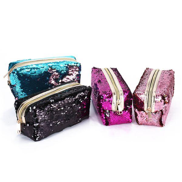 Sequins Glitter Women Makeup Case Travel Organizer Cosmetic Bags Zipper Mermaid Party Clutch Purse Large Storage Pouch