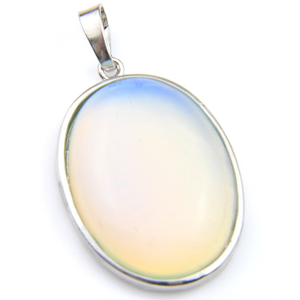 Luckyshine Jewelry Top Quality 2pcs Lot Classic Oval Opal Moonstone Gemstone 925 Silver Pendant Necklace American Weddings Jewelry
