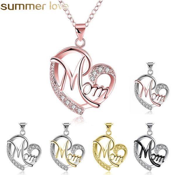 Acheter Mode Coeur Forme Lettre Maman Pendentif Colliers Haute Qualité Mères Anniversaire Bijoux Pendentif Meilleur Cadeau Pour Mère De 106 Du