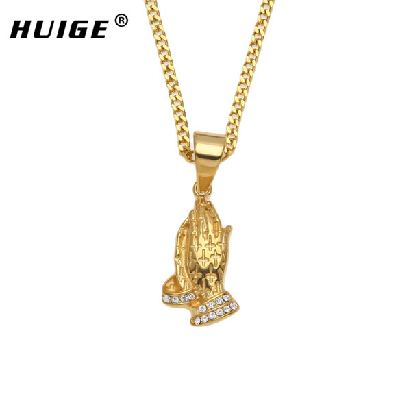 Hip Hop Stainless Steel Prayer Charm Pendant Necklace Iced Out Crystal Praying Hands With Cross Religious Necklace For Men