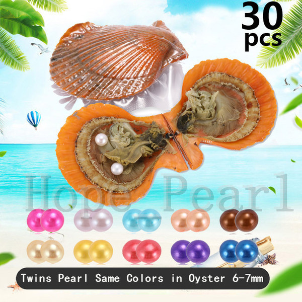 30PCS 6-7mm Mix 30 Colors Twins Pearl Same Colors In Scallop Oyster Individual Vacuum Package Colorful Round Pearl Shell Fedex Free Shipping