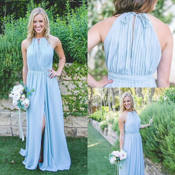 Mingli Tengda nouvelle lumière bleu ciel demoiselle d'honneur robes une ligne Halter en mousseline de soie fluide Flow Slit robes de bal longue robe pour la noce de mariage pour femme