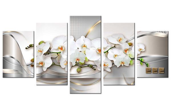 Amse art Orchid lienzo pintura impresión, arte de la pared línea de ilustraciones abstractas fondo flores blancas para la vida familiar decorativo sin marco