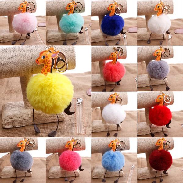 8cm Fur Ball Giraffe Keychains PU Leather Key Rings Fluffy Pom Pom Key Holder For Women Bag Car Key Pendant Keyfob 18 Styles G251Q