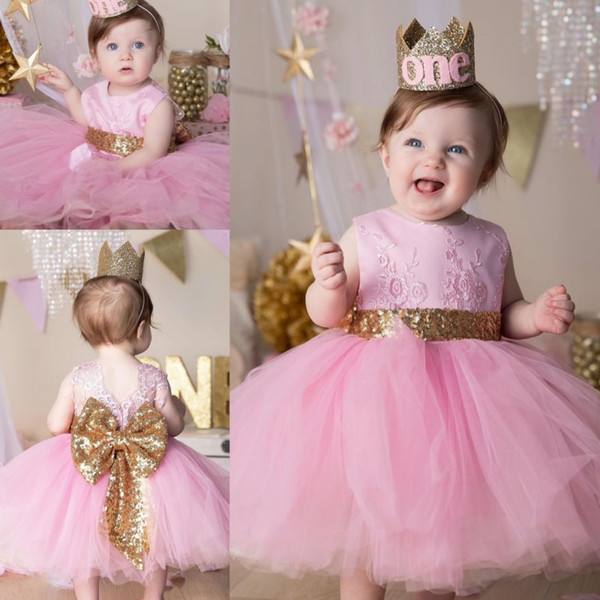 Pink Lace Ball Gown Flower Girl Dresses For Wedding Jewel Neck Toddler Pageant Gowns With Bow Tie Tulle Kids Birthday Dress