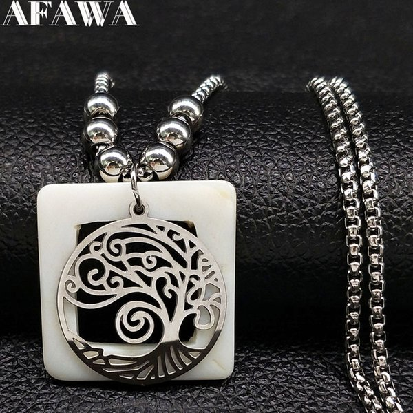 2018 Tree of Life Shell Stainless Steel Statement Necklace Women Boho Silver Color Bead Long Necklace Jewellery joyas N18524