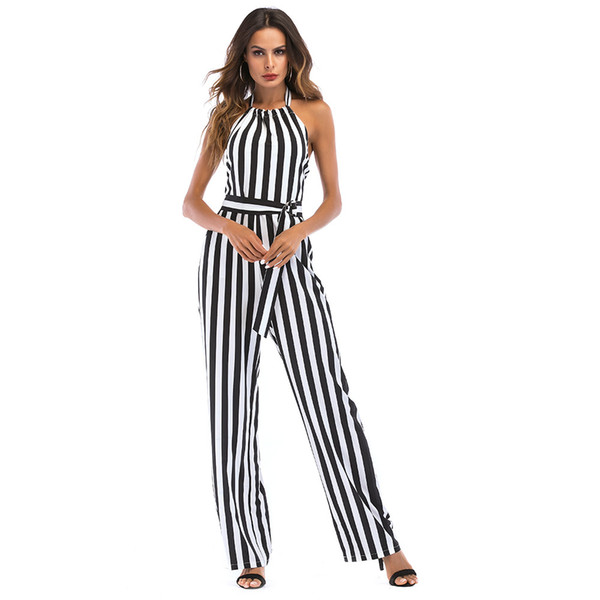 2018 New Summer Women Striped Jumpsuit Sexy Vintage Casual Sleeveless Halter Backless Bodysuit Playsuit Romper Body Femme Mujer