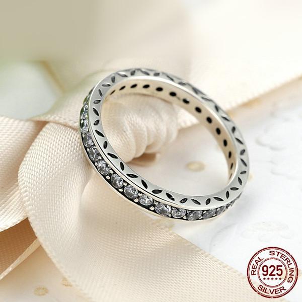 100% 925 ayar gümüş yüzük otantik kadının düğün lüks takı