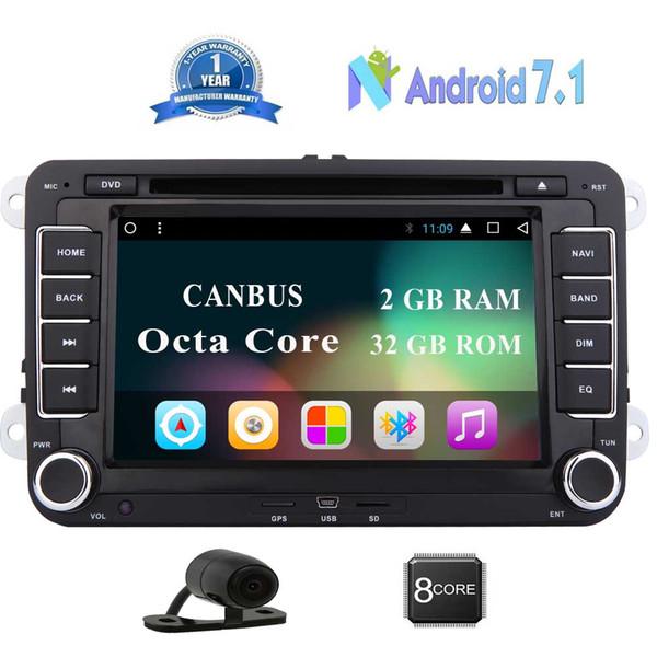 EinCar Android 7.1 Car Radio estéreo Doble Din Android Auto GPS 2GB RAM Unidad del coche para Volkswagen coche Reproductor de DVD Bluetooth, Fastboot