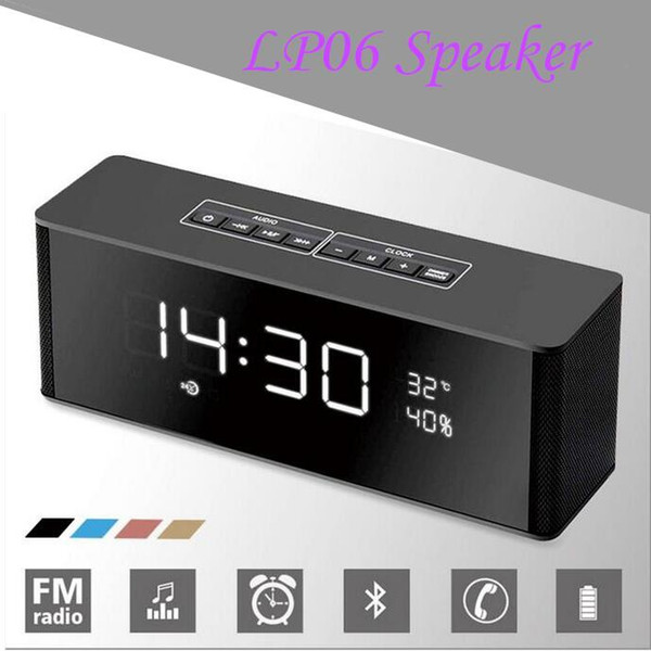 LP-06 Portable Bluetooth Speaker Receiver Multifunctional Super Bass Wireless Speakers for Phone Computer Support TF FM Alarm Clock