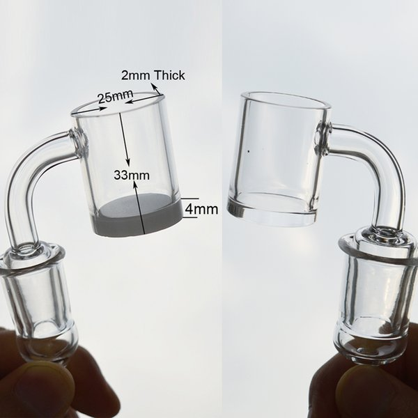 Quartz Banger Nail Flat Top Quartz Bangers Bowl 4mm Thick Opaque Bottom 90 Degree Male 10mm 14mm 18mm Joint for Dab Rig Bong