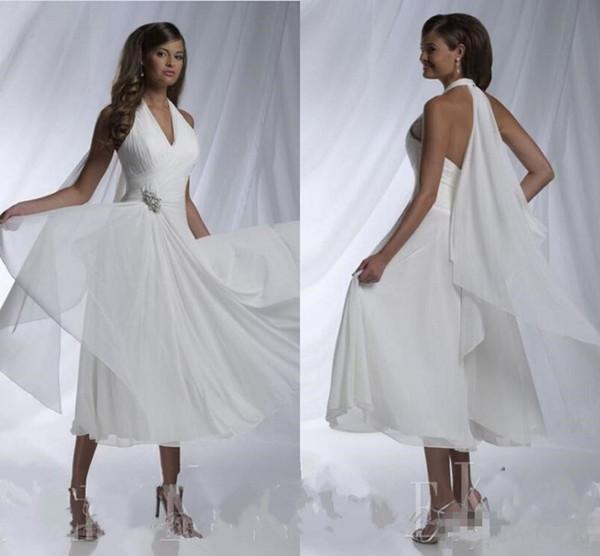 Vestidos de novia de playa cortos de verano 2019 Nuevo Vestido De Noiva Merry Sexy cuello en V Halter Una línea de gasa plisada abalorios té longitud vestidos de novia