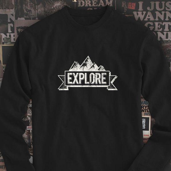 EXPLORE MOUNTAIN BANNER OUTDOOR ADVENTURE TRAVEL Мужская черная футболка с длинным рукавом