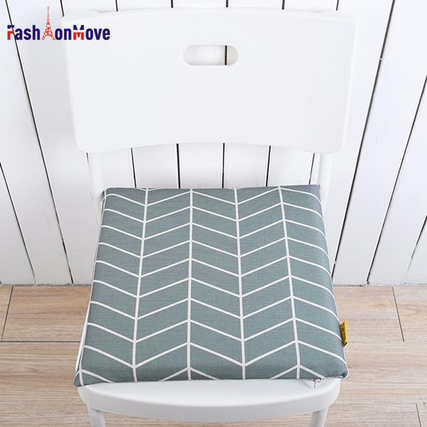 40x40x4cm Geometric Nordic Seat Cushion Cotton Linen Chair Mat Wave Printing Cushion Decor for Chair Home Decorative FashionMove