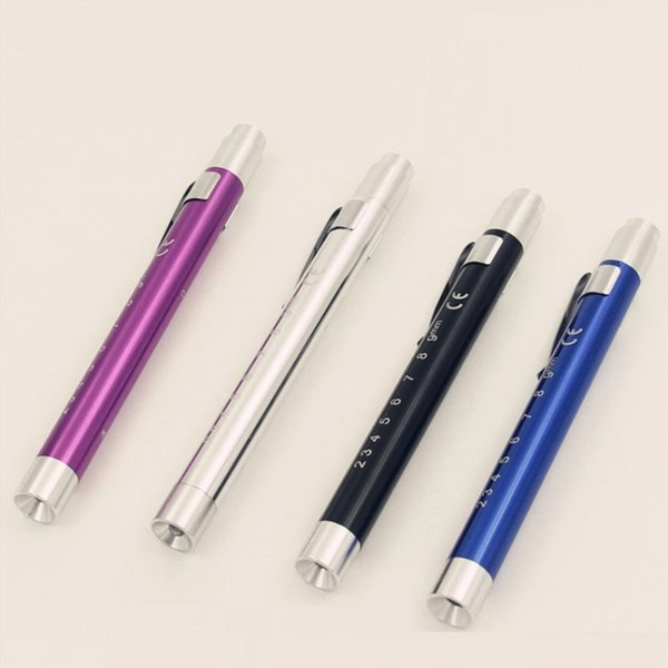 LED pen type pupil pen lamp, aluminum alloy medical torch, yellow light and white light to inspect oral and ophthalmology.