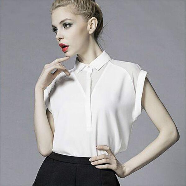 d56b21cd0ba 2018 Летний стиль блузка женская мода Белый шифон элегантная рубашка  женская рабочая одежда офис дамы пр