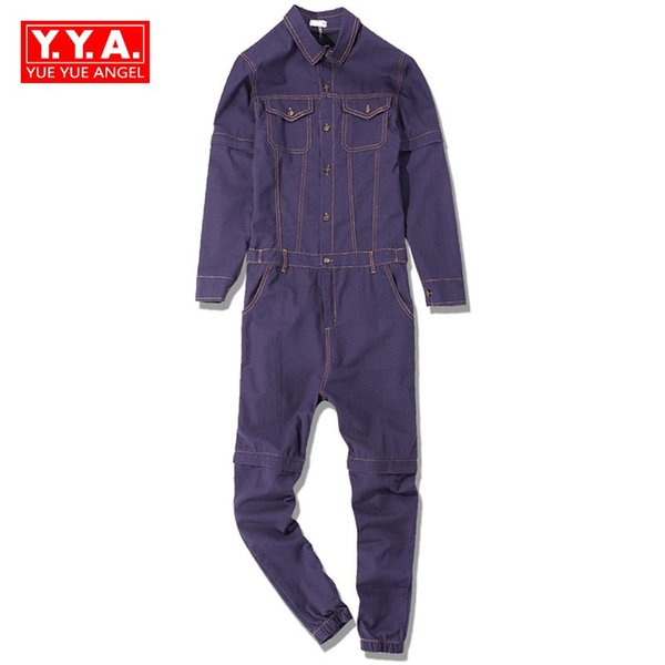 Overalls Denim Workmens 2018 Spring New Fashion Casual Long Sleeve Tops Full Length Zipper Loose Fit Cargo Pants Jumpsuits Man