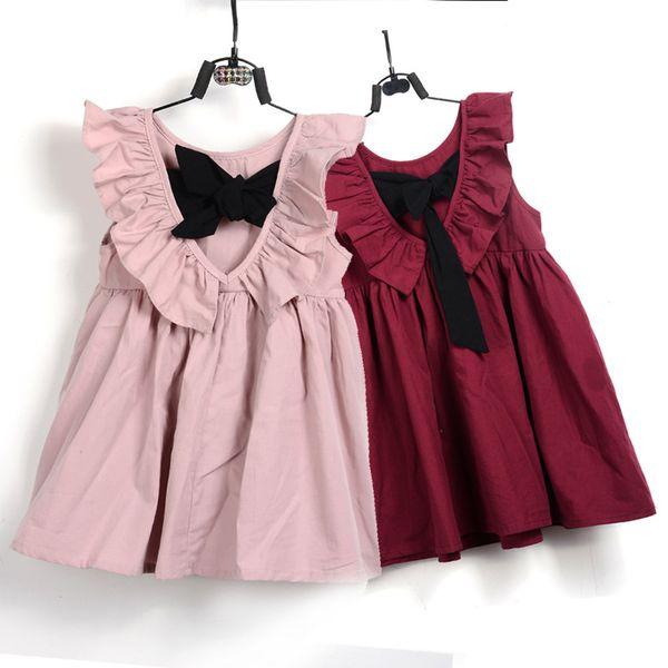 Mode Baby Mädchen Kleid Sommer Kinder Infant Prinzessin Rock Mit Bogen Nette Backless Kinder Kleidung Mode Lässig Vestidos