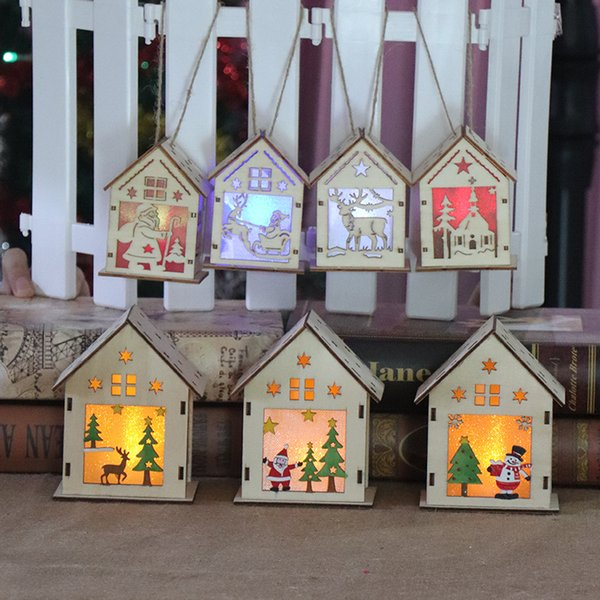 DIY Christmas Tree House Hanging Ornaments Christmas Festival Decoration Led Light Wood House Holiday Decor Xmas Gift 7Colors HH7-1705