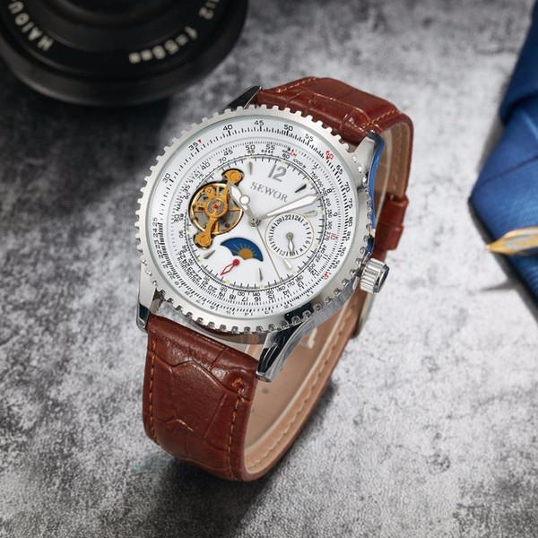 SEWOR Marka Erkek Lüks Saatler Mekanik Otomatik Saatler Erkek Altın İskelet Dial Öz-rüzgar Deri Saatı SWQ45-34