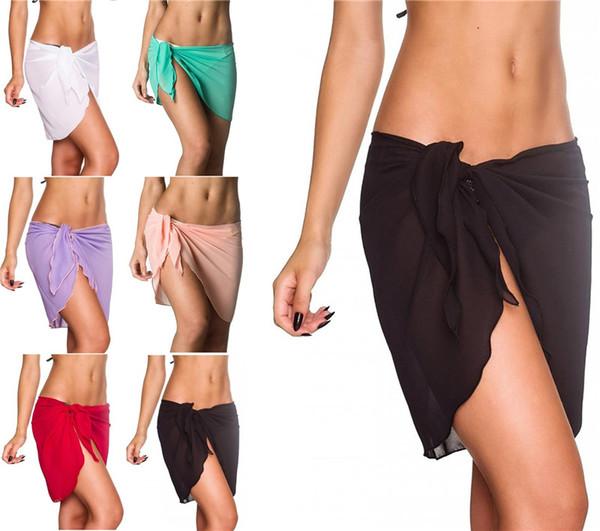 6 Colors Sexy Swimwear Women Beach Skirt Solid Color Chiffon Cover Up Bikini Wrap Beach Sarong for Swim Bathing Suit Swimsuit z203