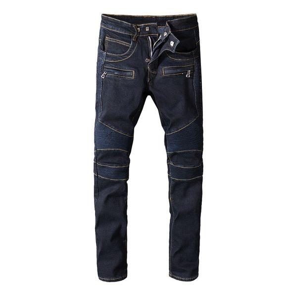 Balmain New Fashion Men's summer Black cotton slim jeans male full Length straight Denim trousers Youth popular style