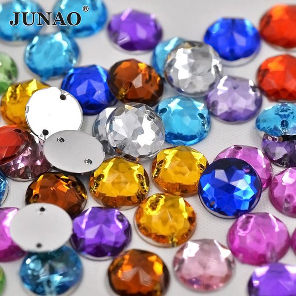 JUNAO 10mm Sewing Mix Color Crystals Round Acrylic Rhinestone Flatback Crystal Strass Sew On Beads For DIY Clothes Jewelry Making