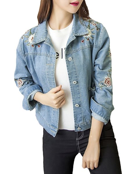 Floral Embroidery Jeans Jacket Fashion Women Denim Jacket Long Sleeve Pockets Casual Loose Coat Outerwear Blue Jaqueta Jeans