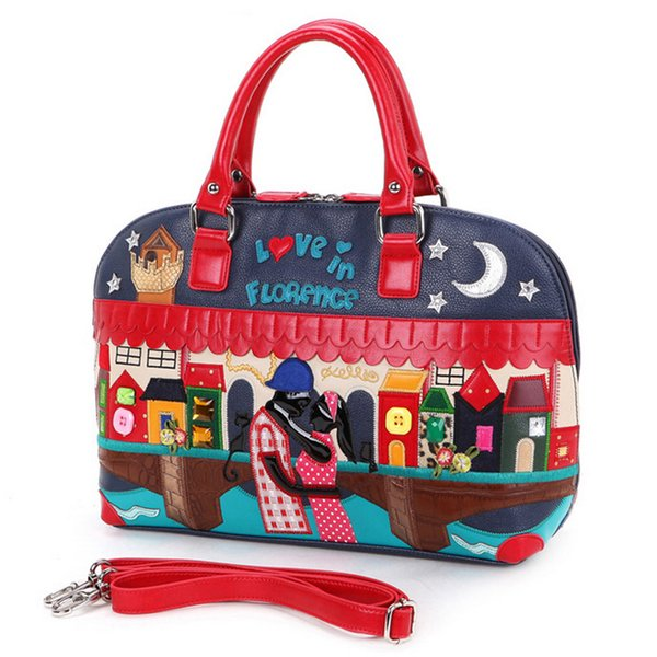 SJ Women Leather Shoulder Bags Female Messenger Bag Handbag Totes Braccialini Brand Style Handicraft Art Cartoon Splicing Lovers