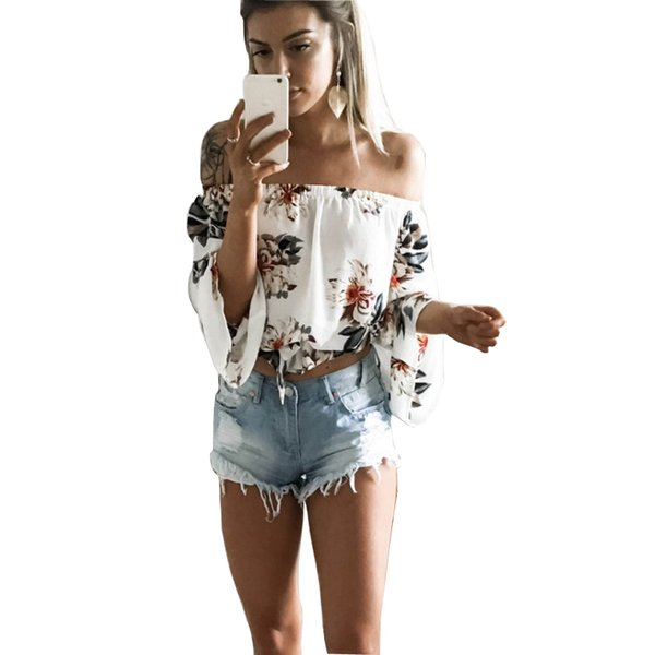 2017 Women Off Shoulder T-Shirt White Sexy Full Flare Sleeve Floral Print Tshirt Loose Crop Tops Casual Tee Beach Cute Clothing