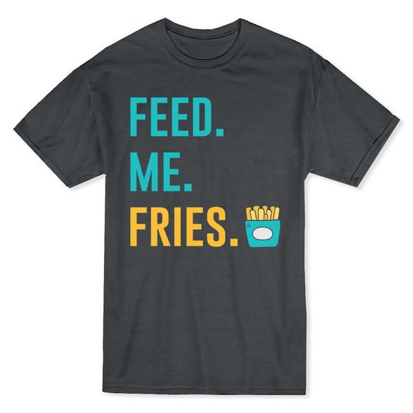 Alimentar. Yo. Papas fritas Fry Day Papas fritas de los hombres Dark Heather T-shirt de la marca de algodón para hombres Ropa Slim Fit T Shirt