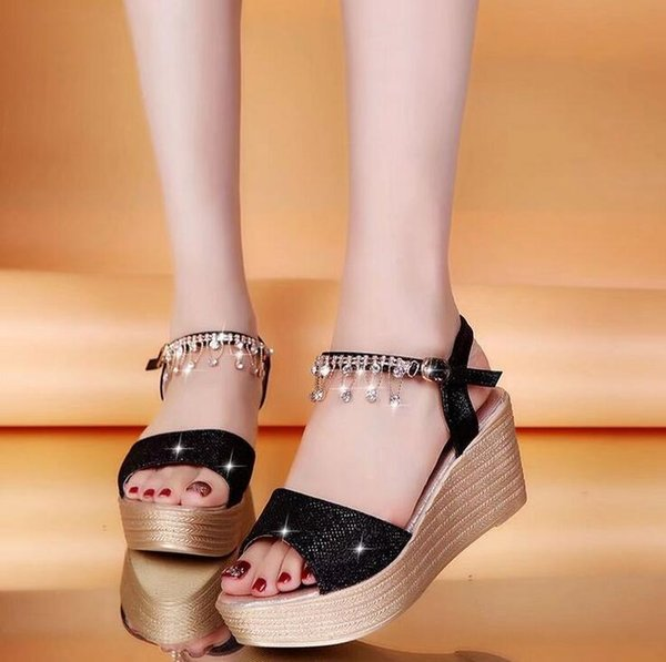942c8e58f3cc BLACK+GOLD+SLIVER New Ladies Shoes Women Sandals Summer Open Toe Fish Head  Fashion Platform High Heels Wedge Sandals Rhinestone