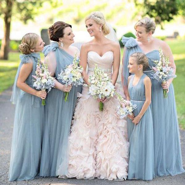 Tozlu Mavi Gelinlik Modelleri Tek Omuz Sashes Pleats Tül Kat Uzunluk Hizmetçi Onur Elbise Törenlerinde