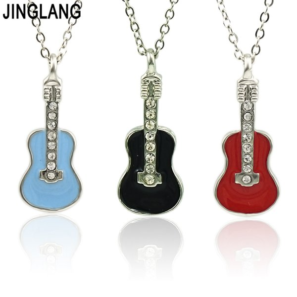 JINGLANG New Arrival Fashion Jewelry Gold Filled Jewelry Set The guitar Pendant Necklace Earrings Set For Women