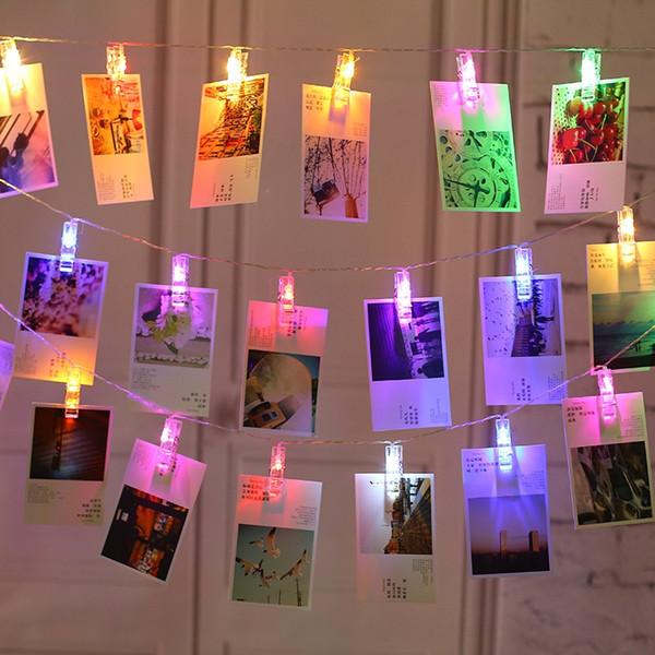 Fotoğraf Klipleri Dize Işık Akülü LED Klipleri Işıkları Noel Işık Asılı Resimler için Kart Notları Yapıt Peri Işıkları