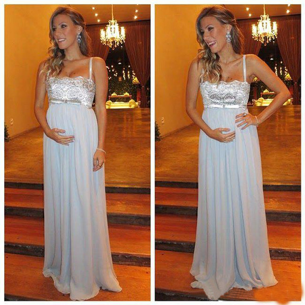 Sexy Maternity Evening Dresses 2018 Spaghetti Chiffon Beaded Lace Custom Made Formal Party Gowns For Pregnant Women Prom Dress