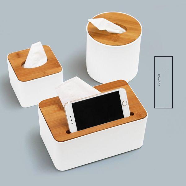 Scatola di immagazzinaggio del tovagliolo da tavolino del contenitore di legno creativo del tessuto con il supporto del telefono