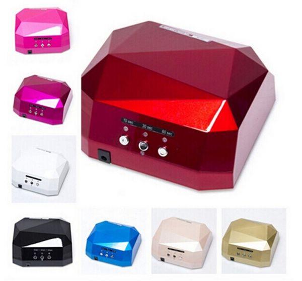 Professionale 36 W 110 V / 220 V LED Lampada Nail Dryer a Forma di Diamante a Lunga Durata Fast Dry 24 w LED 12 w CCFL Cure Per gel per unghie UV
