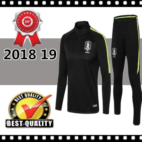 Juego de chándal de fútbol 2018 2019 South KR Conjunto de chaqueta de fútbol negro Traje de entrenamiento Survetement Chandal Nombre personalizado S Y KI H M SON