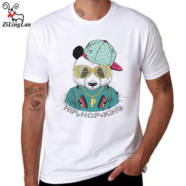 Panda Hip Hop Cotton Top Tees Men Shirt Short Sleeve O neck White T-shirts