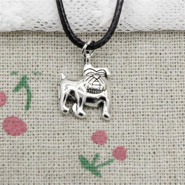 Creative Fashion Antique Silver Pendant dog pug bulldog 17*13mm Necklace Choker Charm Black Leather Cord Handmade Jewlery